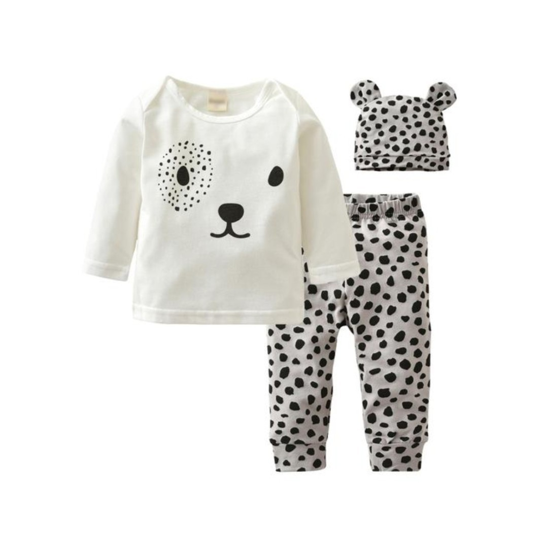 c0fa3503934a 🌟INSTOCK🌟 3pc Spot Bear Eye White Long Sleeves Tshirt Top with ...
