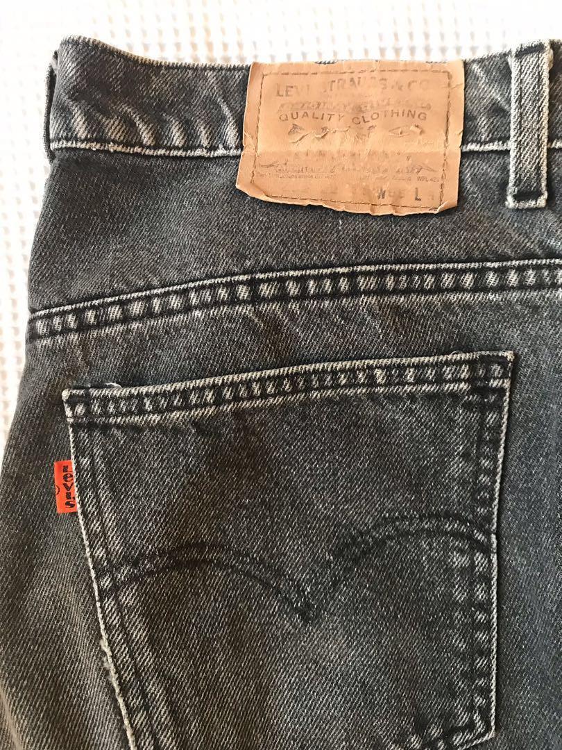 "Levi's orange tab vintage grey black high waisted mom retro jeans 32"""