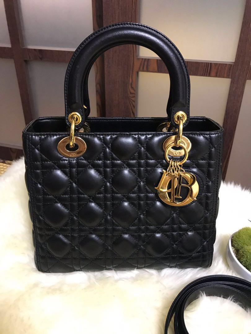 c3c74aff630eb Like new Dior Lady Dior Medium Black With Ghw