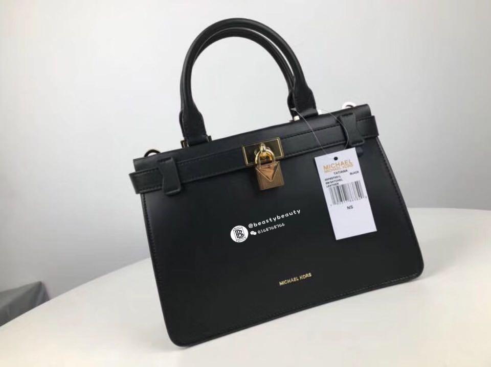901a425ce3f1 Michael Kors Tatiana Medium Leather Satchel- Black