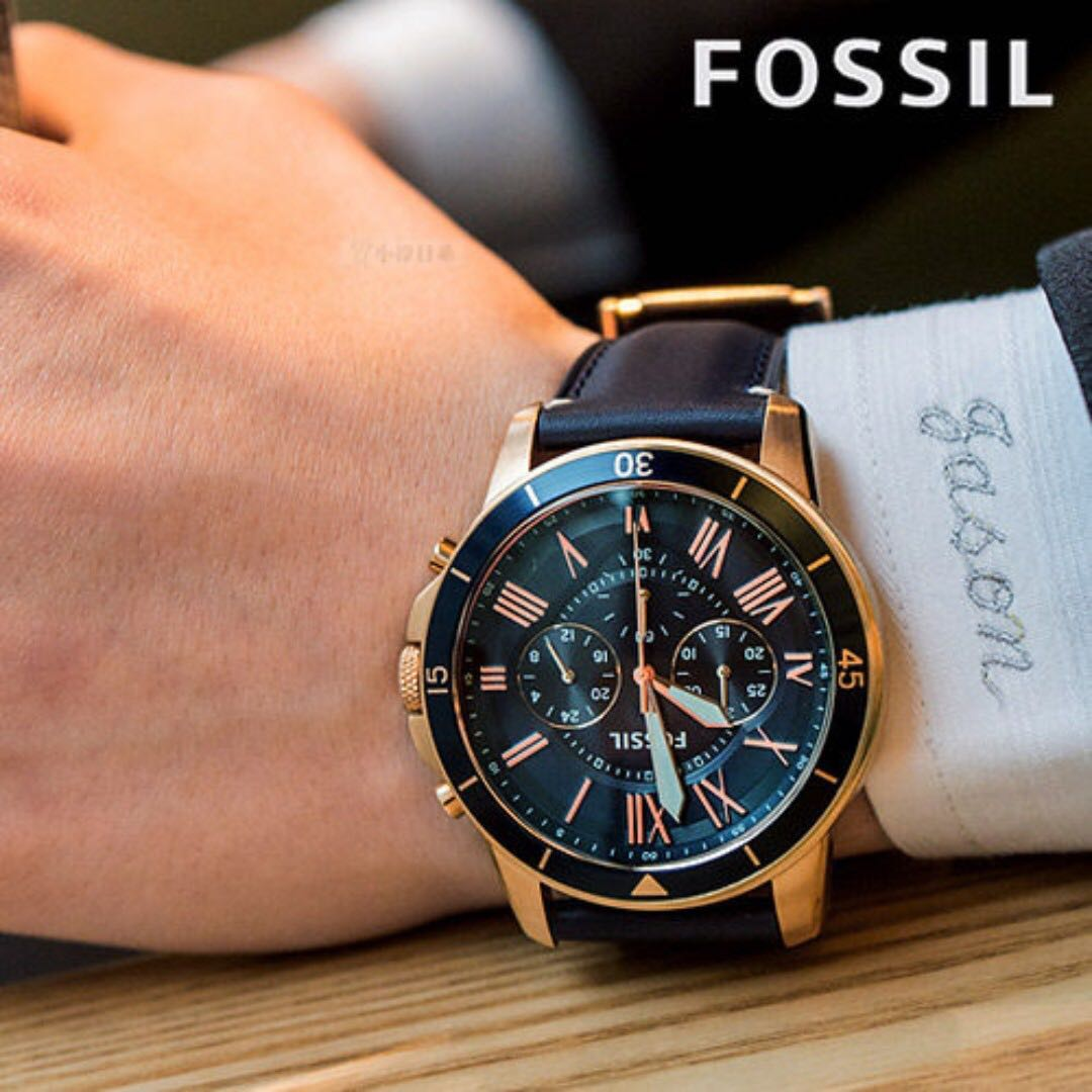 6edb4bf5b5188 OFFER - Fossil New collection Grant Sport Chronograph Blue Leather ...
