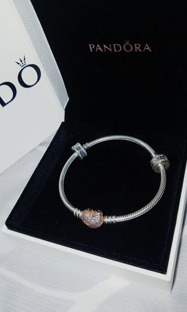 d92a06e539b5c Pandora Rose Moments Silver Bracelet with Pandora Rose Pave Heart ...