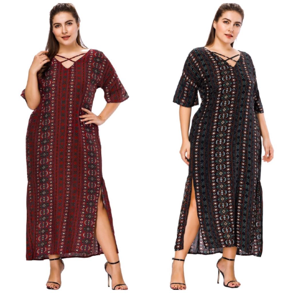 12de5e05931 PLUS SIZE Women Boho Strappy Half Sleeve Vocation Long Dress ...