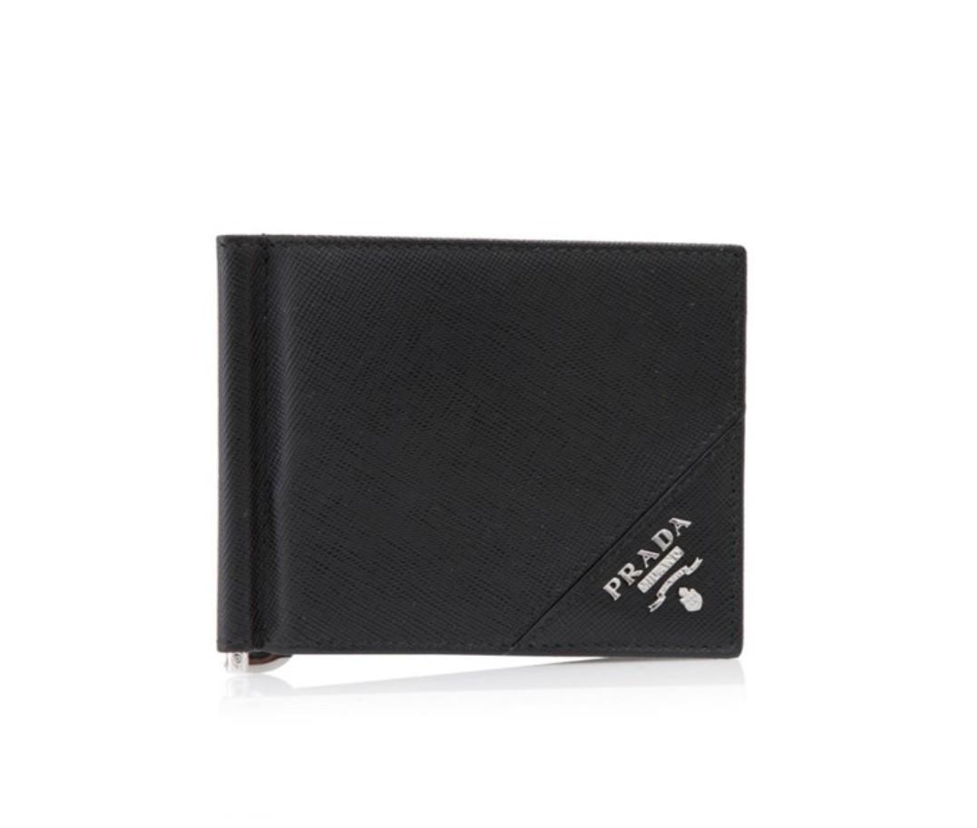 8cef6fa90fcb30 PRADA Saffiano Metal Bifold Wallet With Money Clip *BN Authentic ...