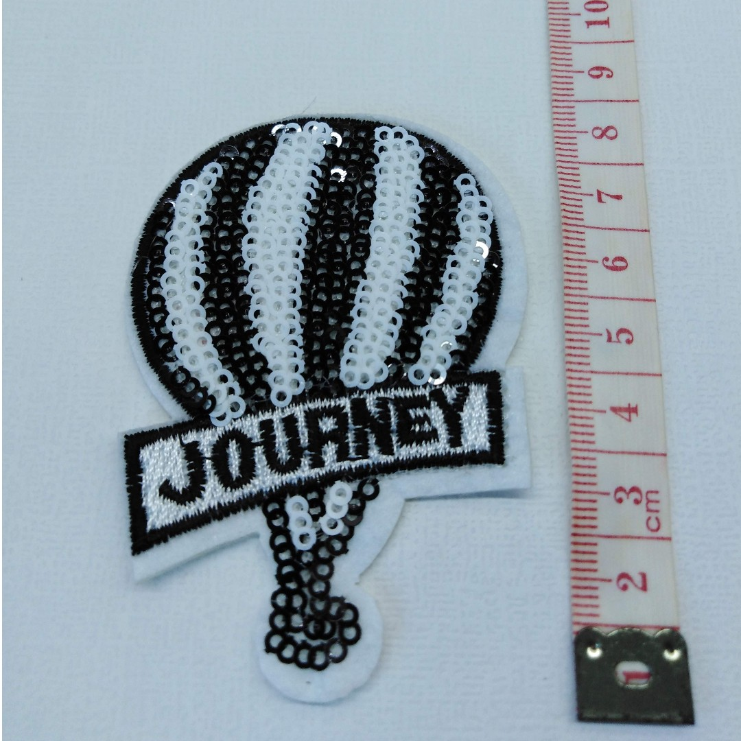 bd014e0f98926 Sequin black & white 'Journey' applique embroidered iron on patch ...