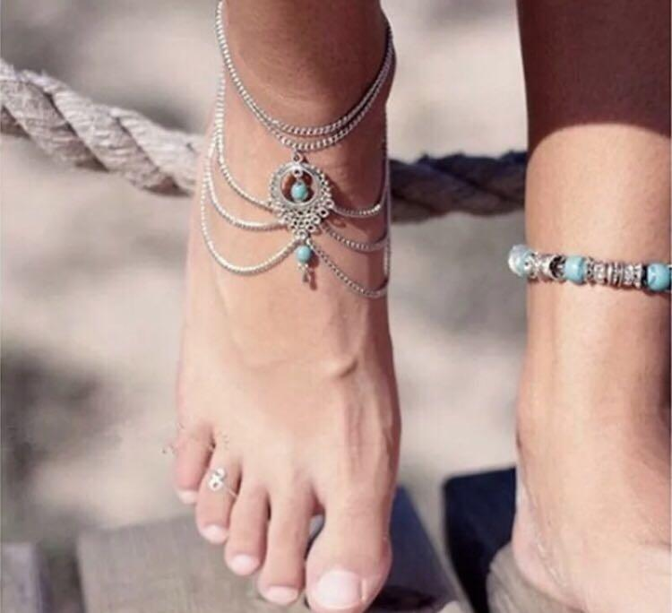 Silver boho hippie festival anklet turquoise stone bracelet fashion beach summer chain jewellery