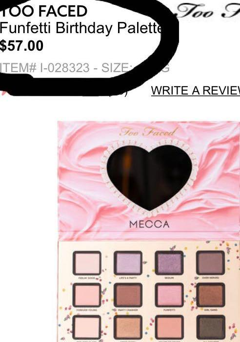 *NEW* TOO FACED x Mecca Funfetti Eyeshadow Palette RRP$57