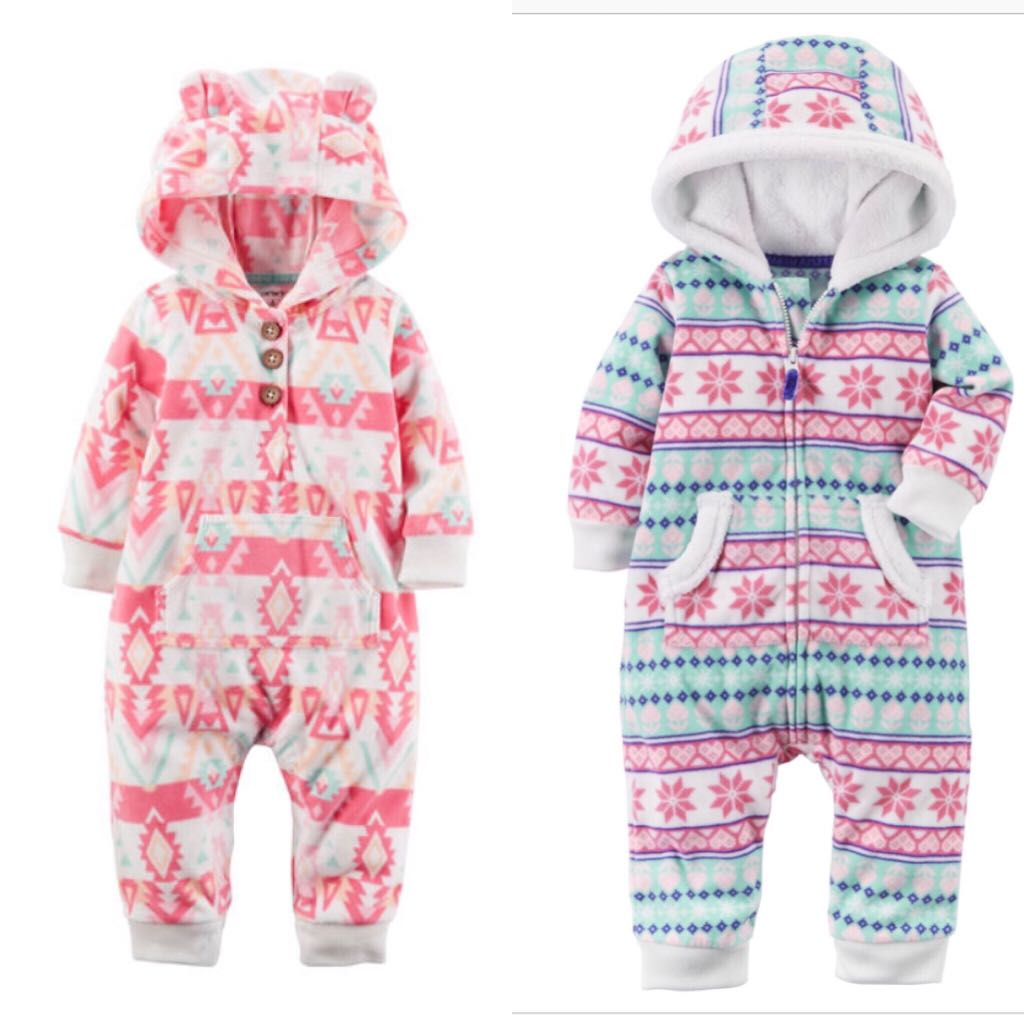 2d2ed6403 WINTER BN Carters Baby Girl Fleece Fair Isle One Piece   Romper ...