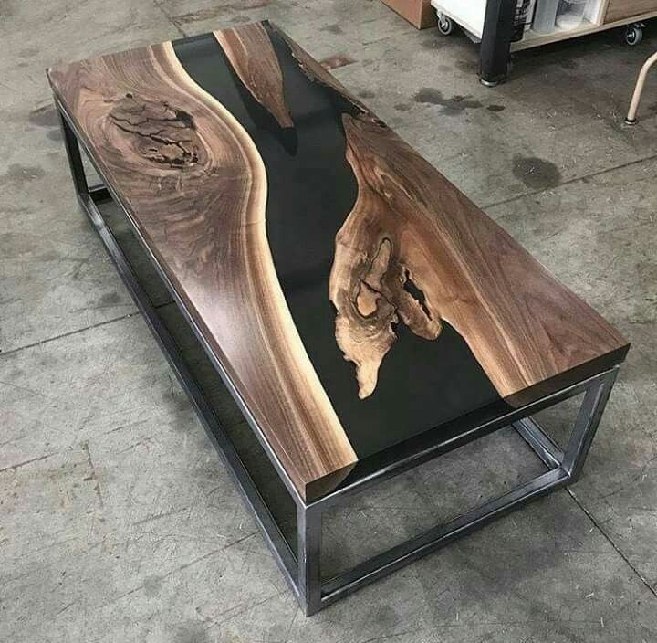 Wood Dining Table with gold frame