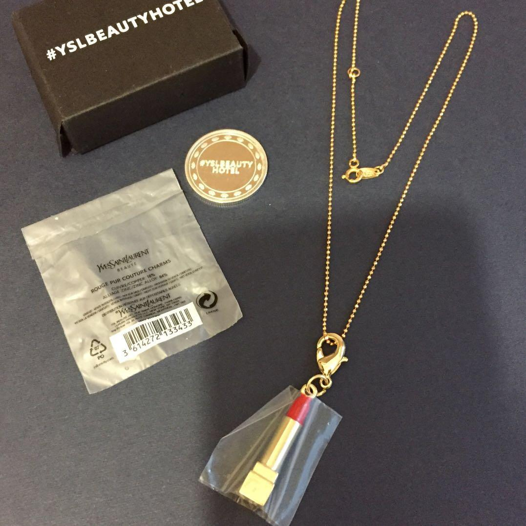 496efdb091f YSL BEAUTY HOTEL LIPSTICK CHARM NECKLACE YSL COIN SET #LadiesXmasGift on  Carousell