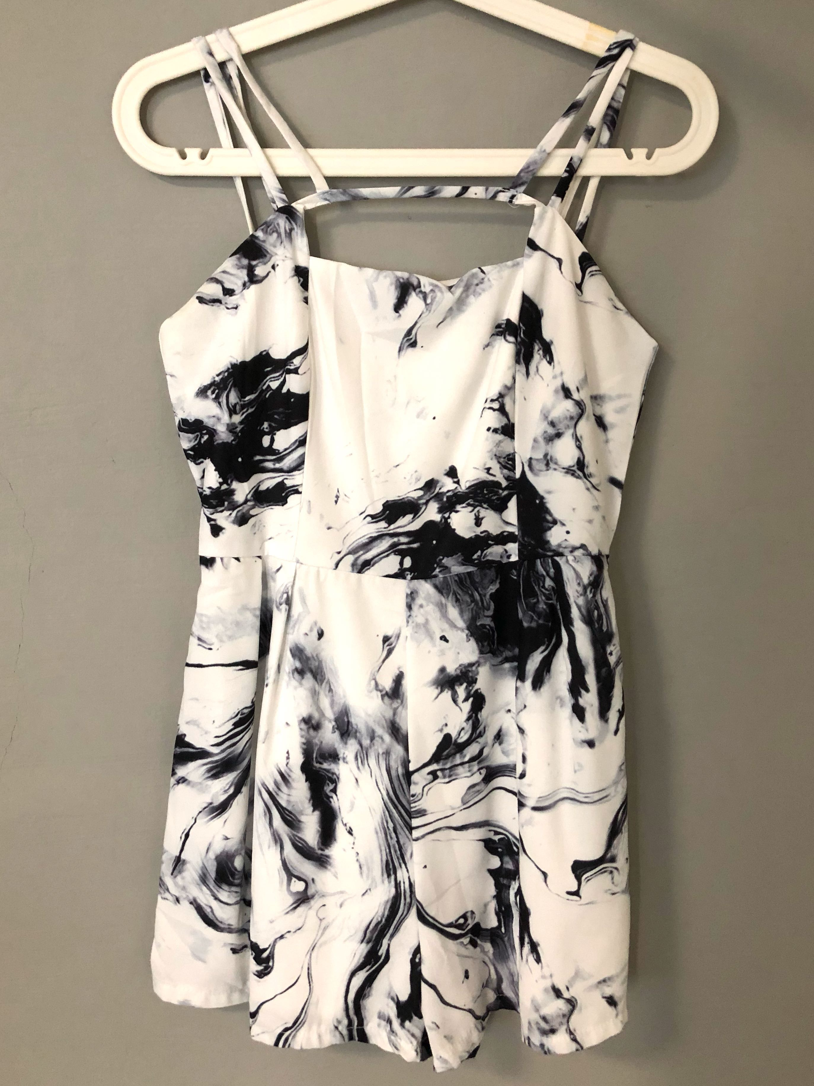 b728800d0097 ZARA Basic Marble Strap Romper, Women's Fashion, Clothes, Rompers ...
