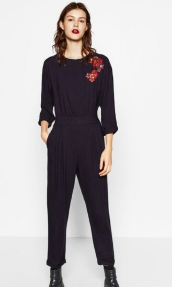 f6cacd63e627 Zara navy embroidered jumpsuit
