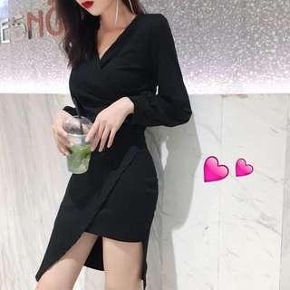 Long Sleeves Black Dress