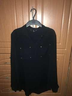 H&M Sheer long sleeves with studs in black