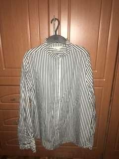 H&M stripes long sleeves with frills on neck and cuffs