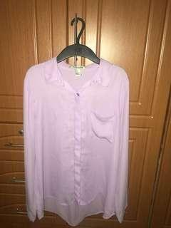 Forever 21 sheer purple long sleeves