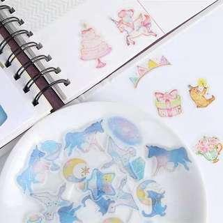 🚚 [In stock] 45pcs Jemjelly Transparent Stickers with gold embelishment