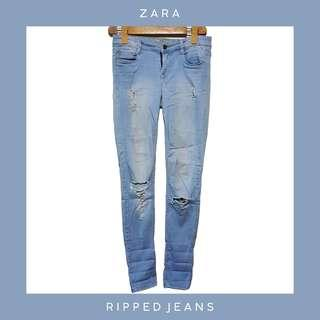 ZARA: Ripped Denim Jeans / Pants