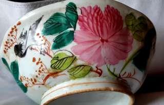 (挽回權利)古董手繪鳥花舊瓷碗