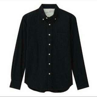 無印良品 長袖黑色襯衫