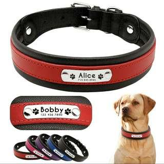 Personalized Leather Collar For Big Large Dogs Customized Engraved Pet ID Dog Collar