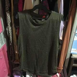 H&M Army Green Glittered Top