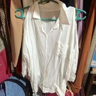 White Polo Cold Shoulder 3/4 Sleeves