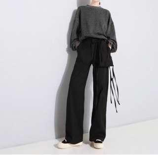 🚚 BN Ladies 3D Pocket with Tied Knots Slim Straight Black Pants