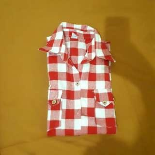 Korean red checkered country shirt