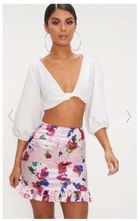 PrettyLittleThing Satin Floral Skirt
