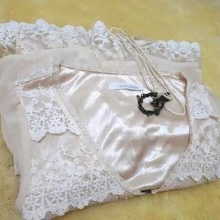 Vous Meme beige lace mini dress