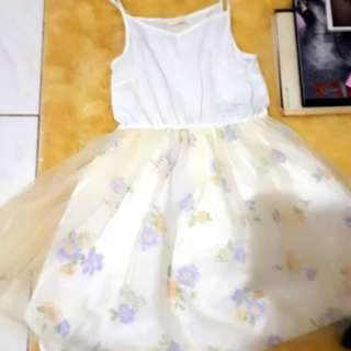 Earth Music and Ecology white tulle soft blue flowers dress