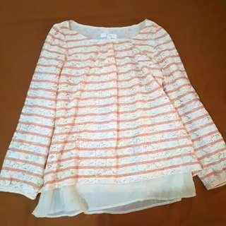 Peach pinstriped blouse