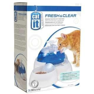 3L CATIT Fresh and Clear Drinking Fountain With Food Bowl