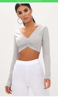 Grey ruched front crop top