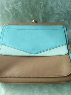 Charles and Keith crossbody bag blue brown. Tas wanita murah. Negotiable