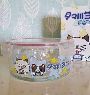 🚚 只有一個 DHC良子喵 天菜飽鮮盒 圓形耐熱玻璃保鮮盒900ml 貓咪圖案保鮮盒