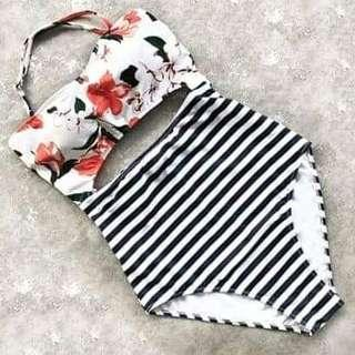 Floral and striped one piece 💕