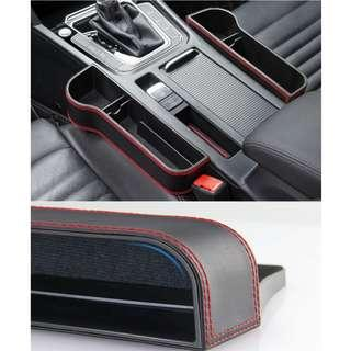 Premium Leather Car Seat Organizer  In Between Seat Storage Box Car Storage Pouch HP Cards Key Coin Pen