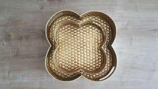 Gold Honeycomb Decor Plates