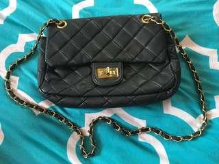 Black gold chained side bag