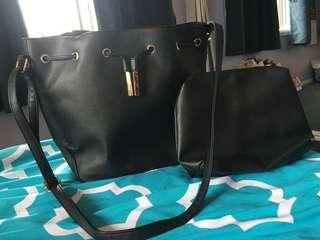 Colette leather black side bag (large)