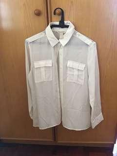 White button down with shoulder detail