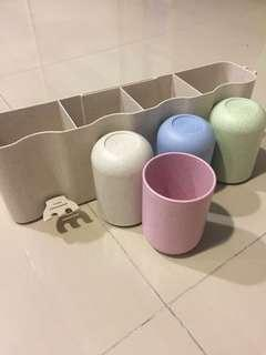 Nail less Toilet toothbrush holder with individual cups