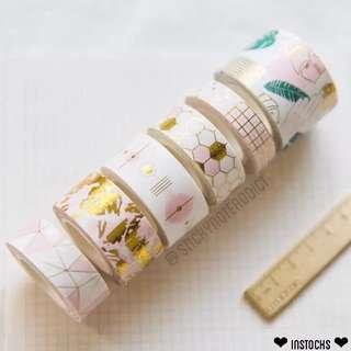 🚚 Geometric Pink Gold White Washi Tape