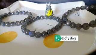 #Labradorite Bracelets natural with lightning (moonlight crystals) 带光带透拉长石手串 (月光水晶)