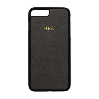 🚚 Personalised Saffiano Leather iPhone 7/8 Plus Case - Black