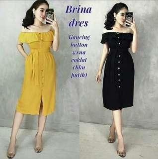 Brina dress mustard /black
