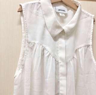 Monki ivory cream short shirt top 米白色 韓劇 上班 OL 雪紡 恤衫 斯文 上衣 背心