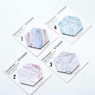 🚚 Hexagon Marble Sticky Note / Post It Note